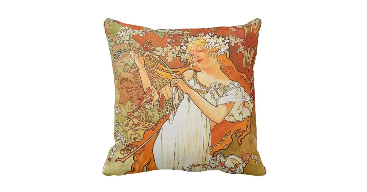 Vintage Spring Alphonse Mucha Throw Pillow Zazzle
