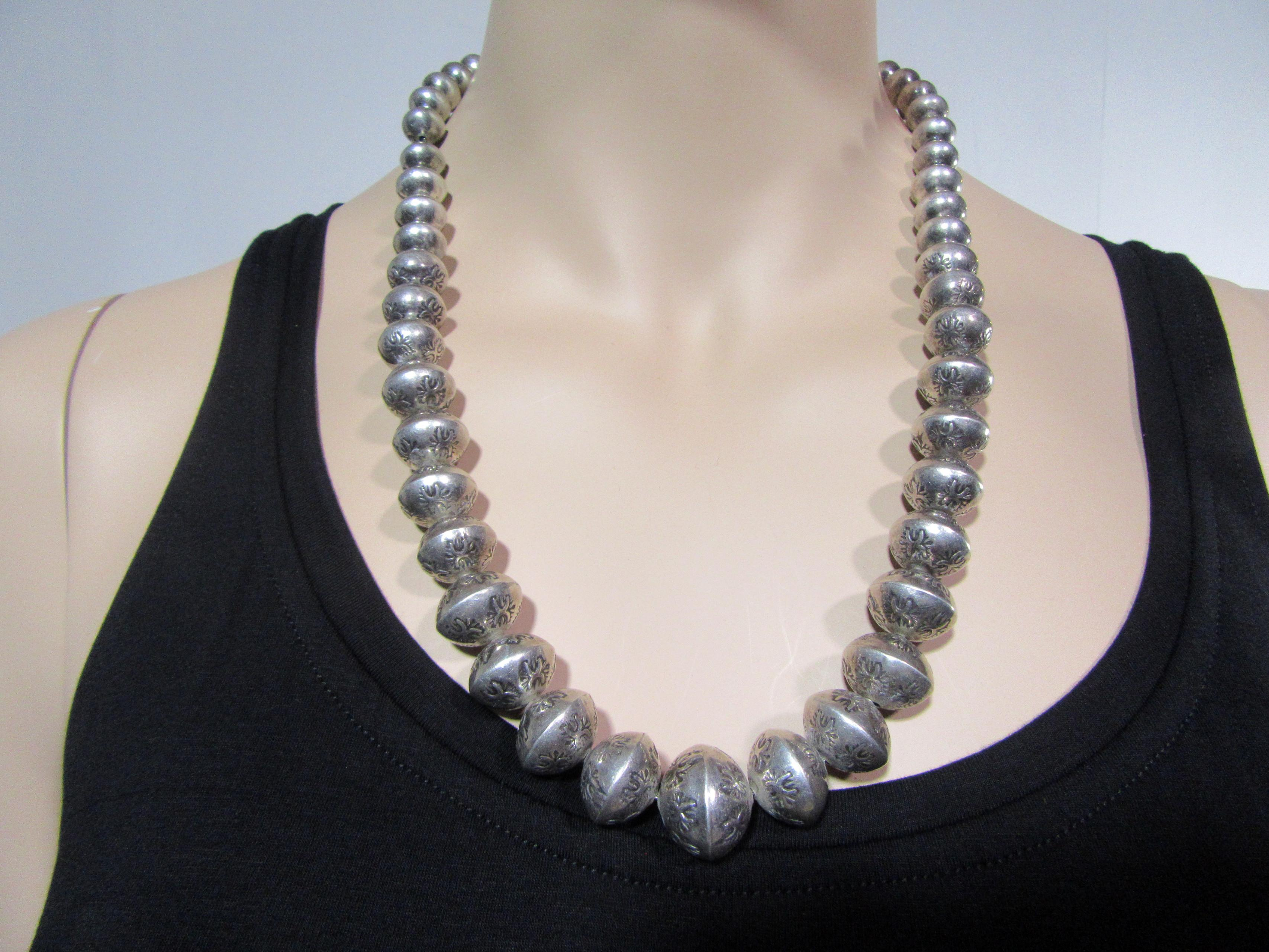 Vintage Stamped Sterling Silver Bead Navajo Necklace Long