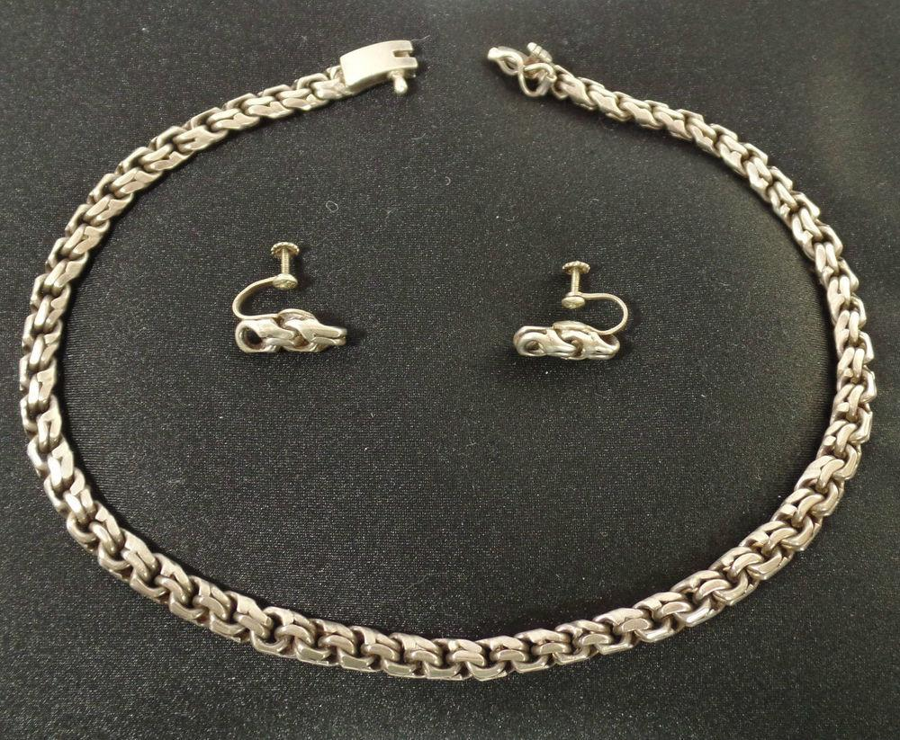 Vintage Stamped Zevahc Sterling Necklace Matching