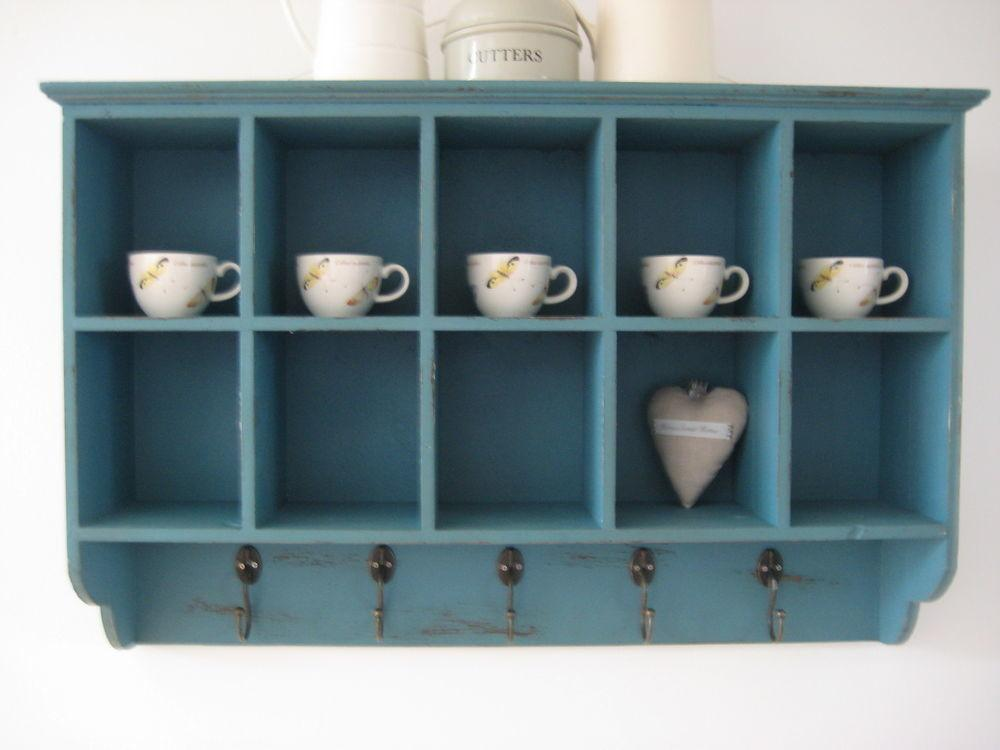Vintage Style Blue Wooden Wall Shelf Display Storage Unit