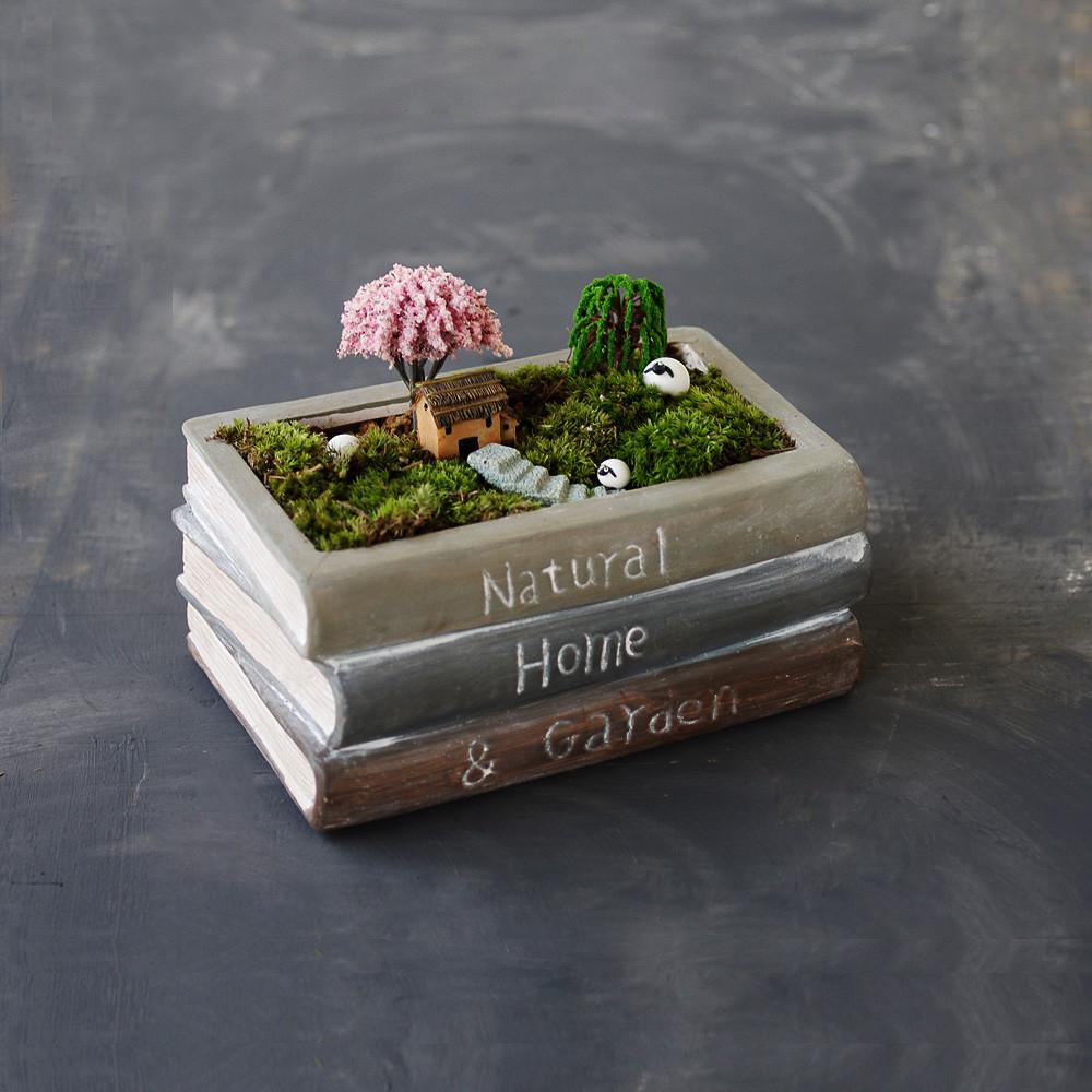Vintage Style Ceramic Stacked Book Design Succulent