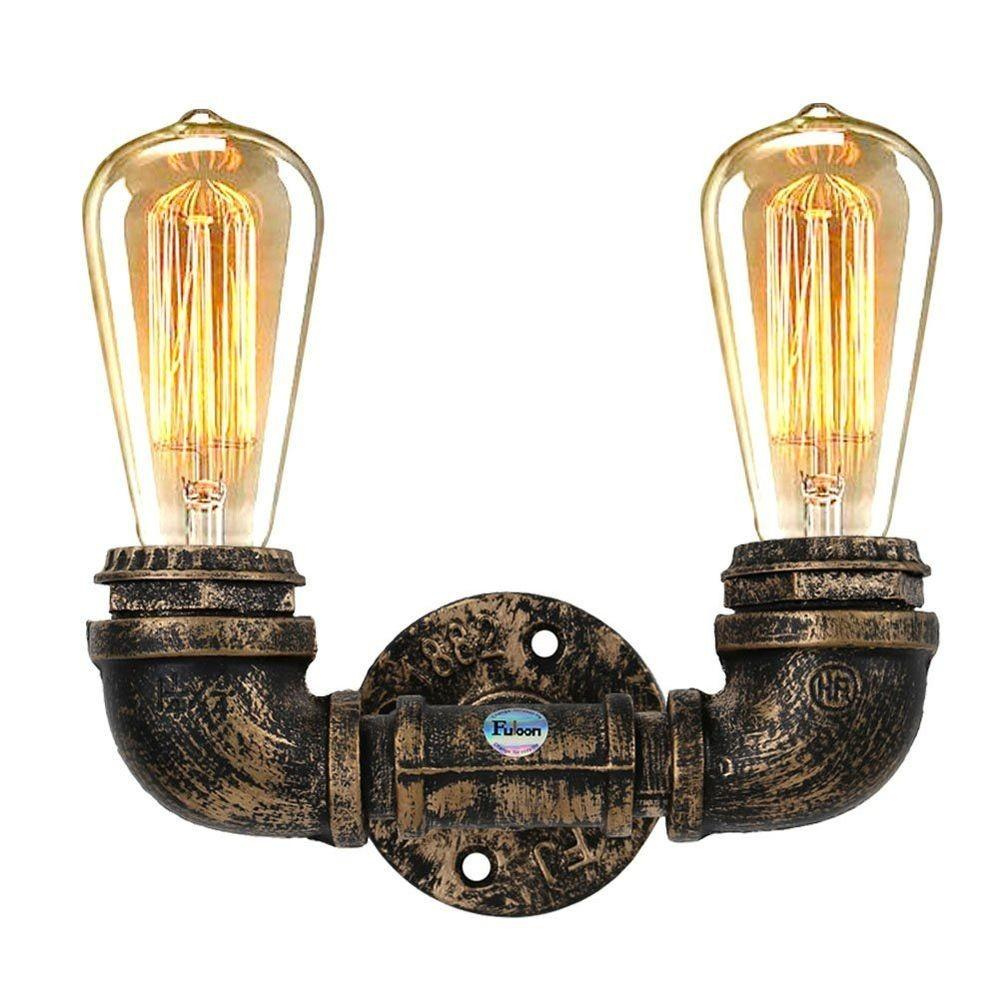 Vintage Style Iron Double Pipel Lamp Cafe Bar Diy Water