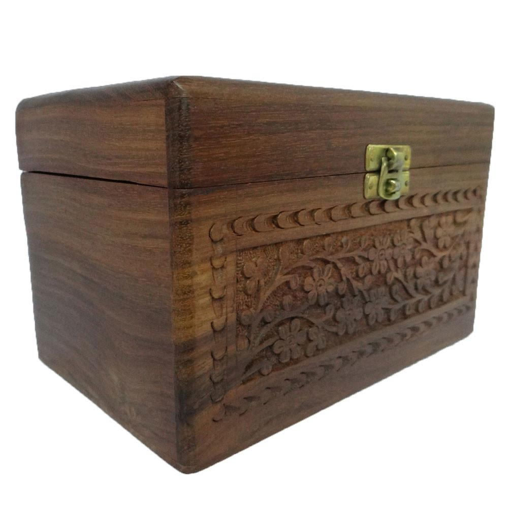 Vintage Style Small Wood Wooden Jewelry Storage Trunk Swb24
