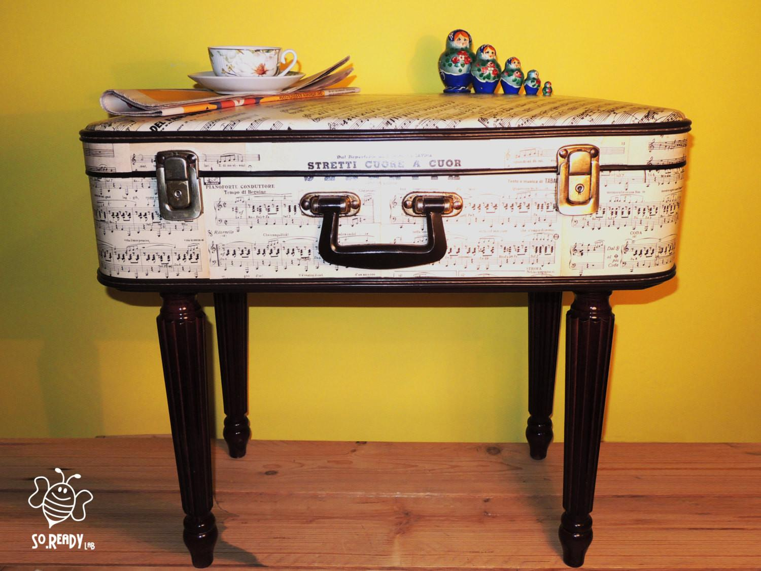 Vintage Suitcase Coffee Table Bedside Bag