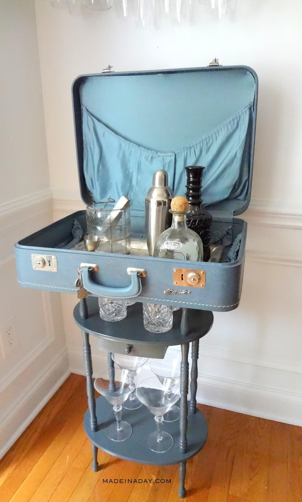 Vintage Suitcase Table Bar Made Day