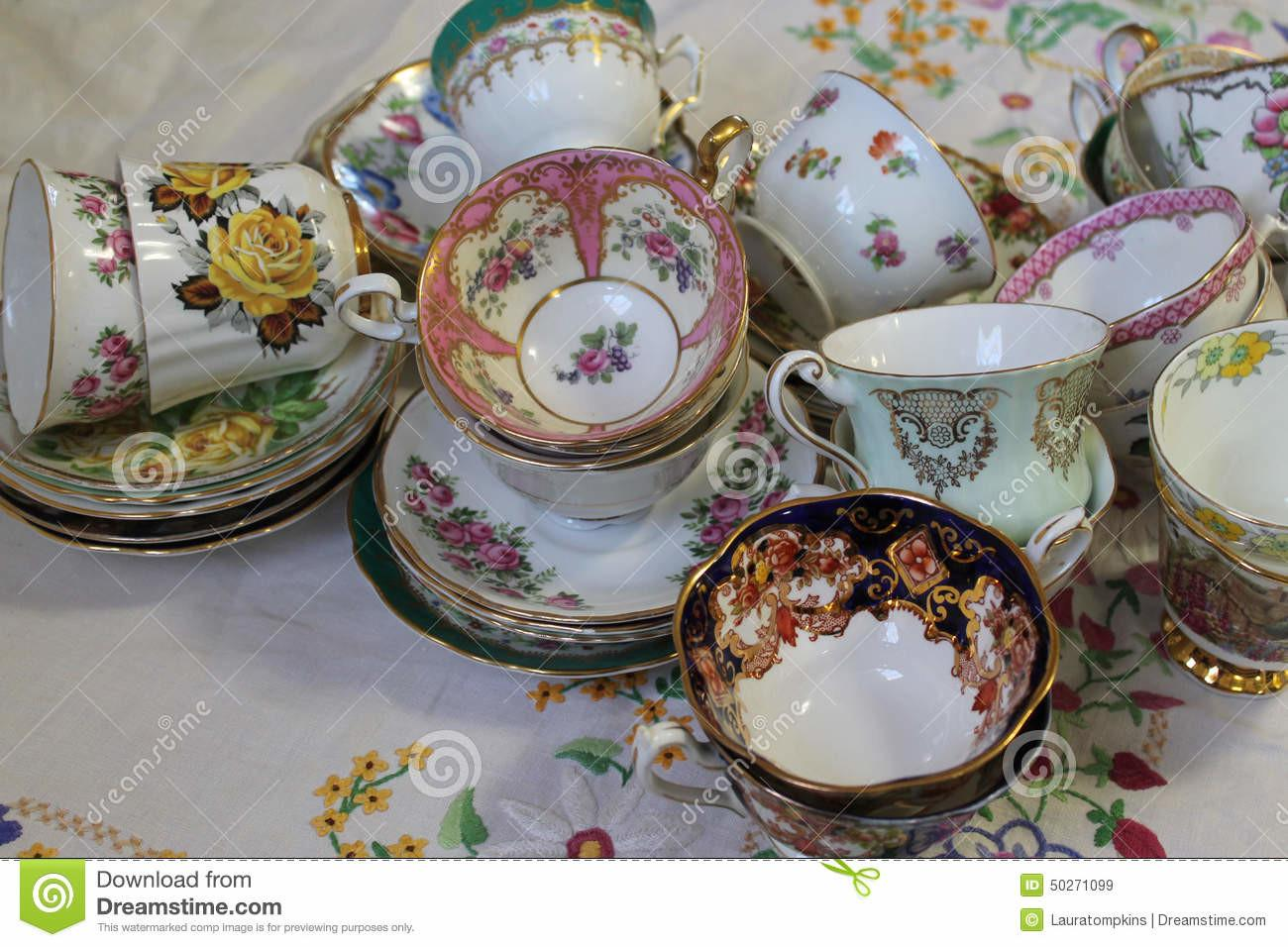 Vintage Teacups Saucers Stock