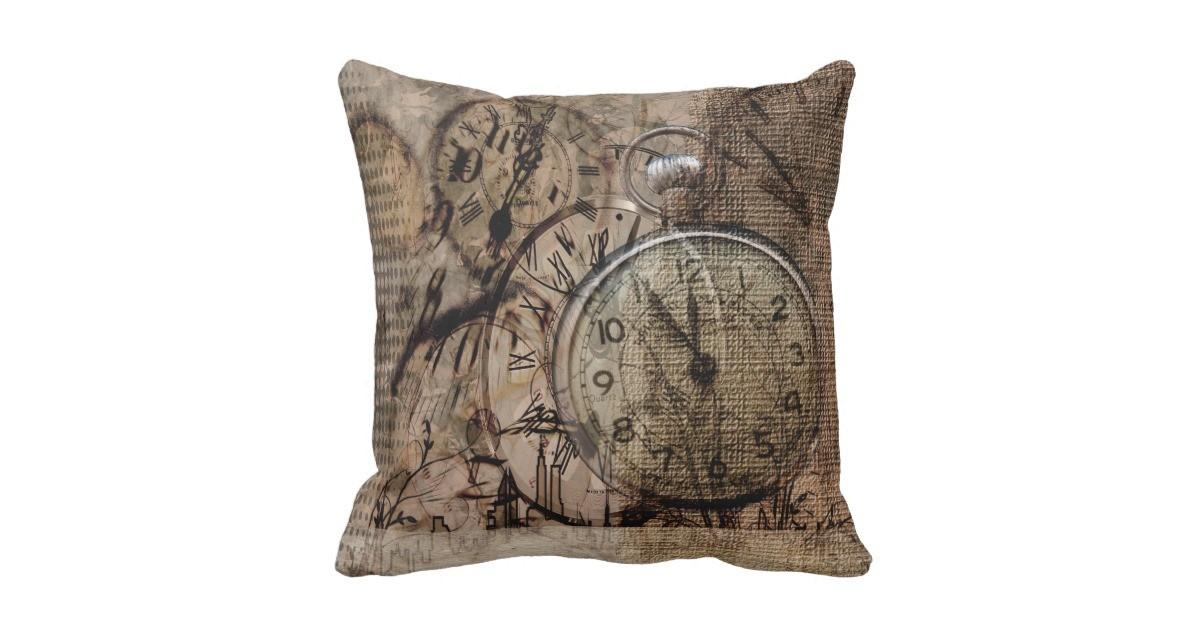 Vintage Time Rustic Style Throw Pillow Zazzle