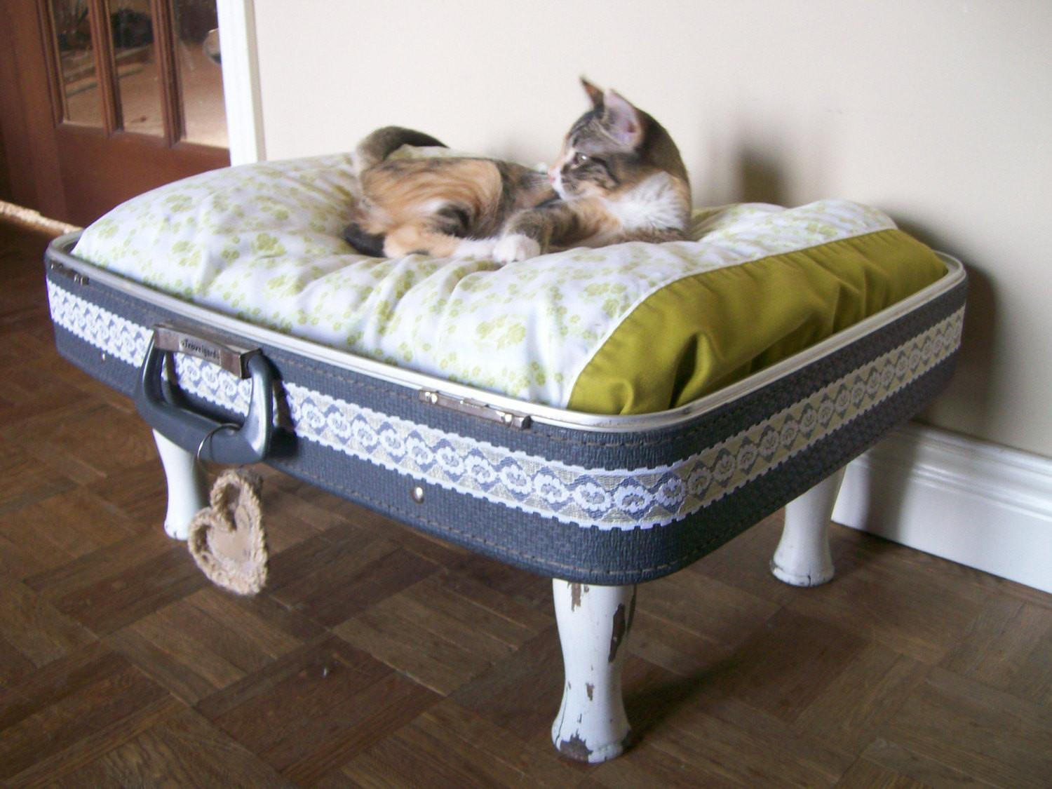 Vintage Upcycled Suitcase Pet Bed Blue Green White Eco