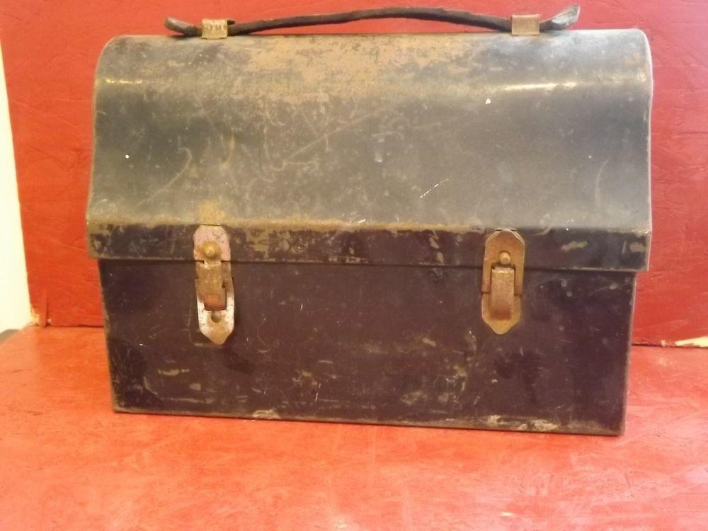 Vintage Vented Metal Lunch Box Black Leather Handle
