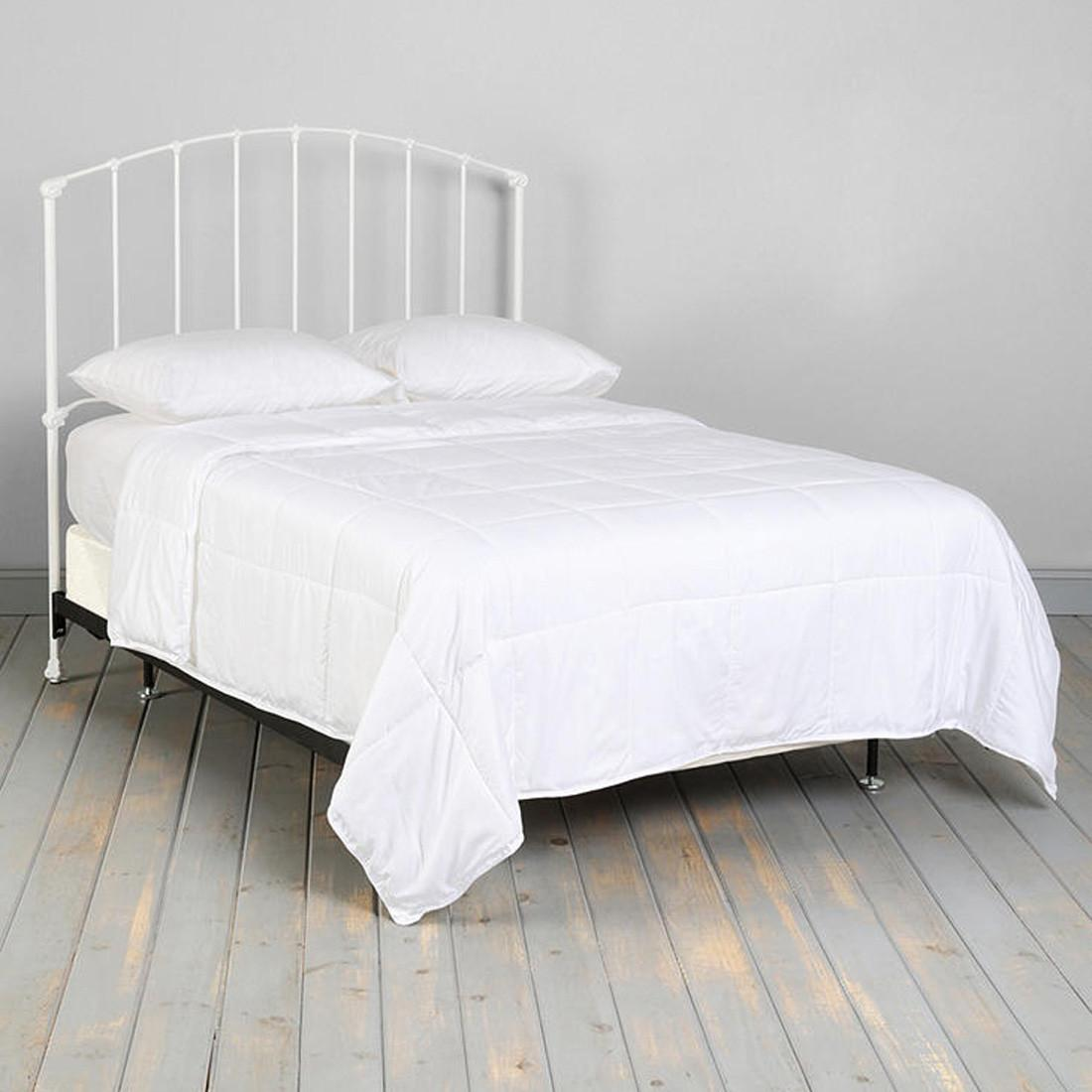 Vintage White Iron Platform Bed Headboard