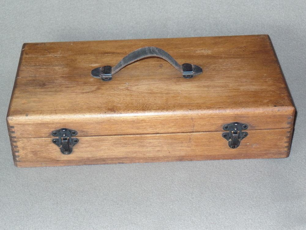 Vintage Wood Dovetail Tool Box Leather Handle Terryville