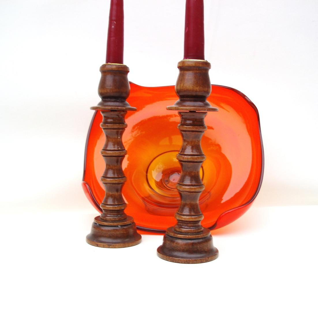Vintage Wooden Candlesticks Wood Candle Holders Whimzythyme