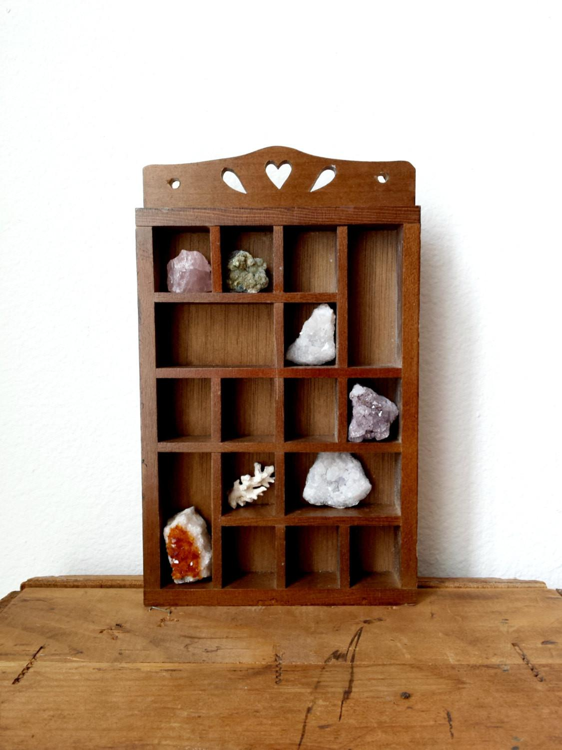 Vintage Wooden Curio Display Wall Shelf Shopdustanddiamonds