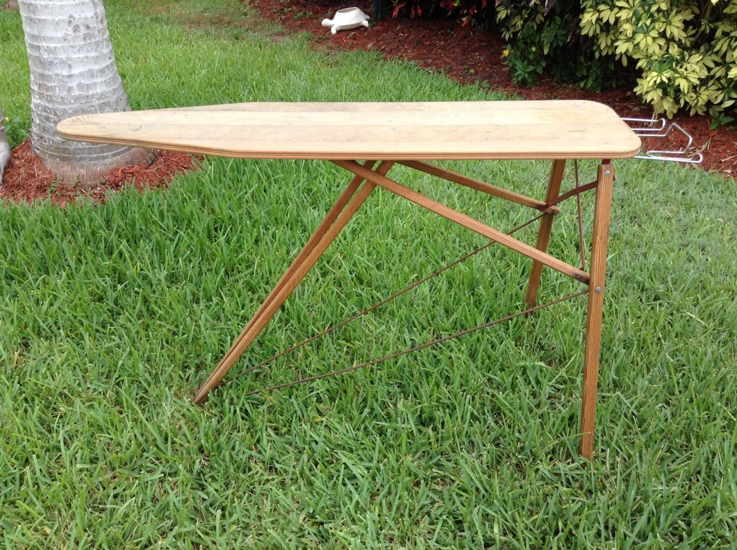 Vintage Wooden Folding Ironing Board Laundry Table