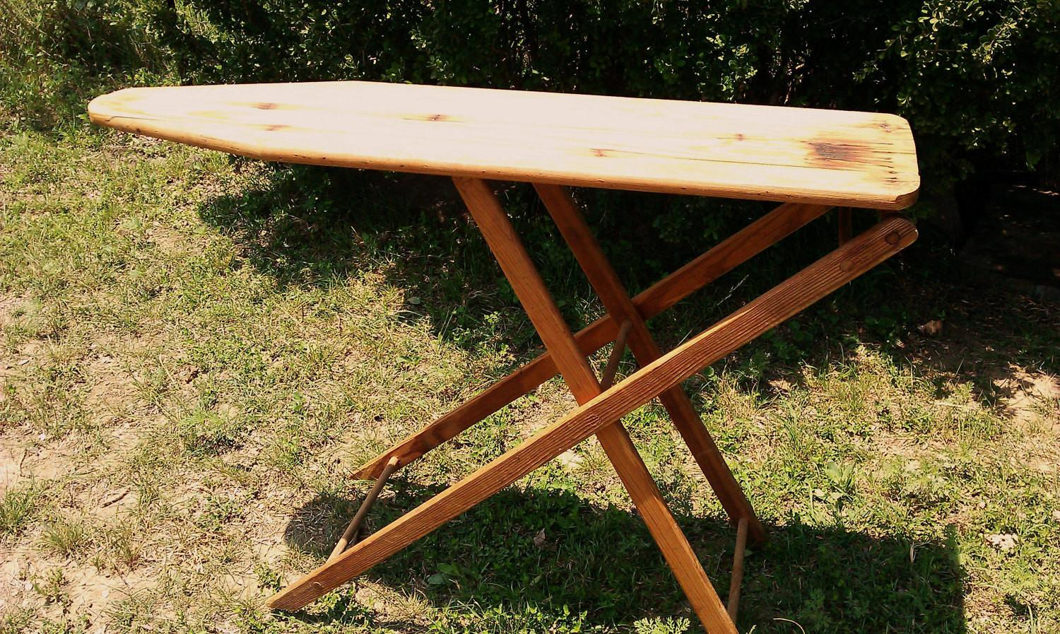 Vintage Wooden Ironing Board Antique Home Decor Mjclowdus
