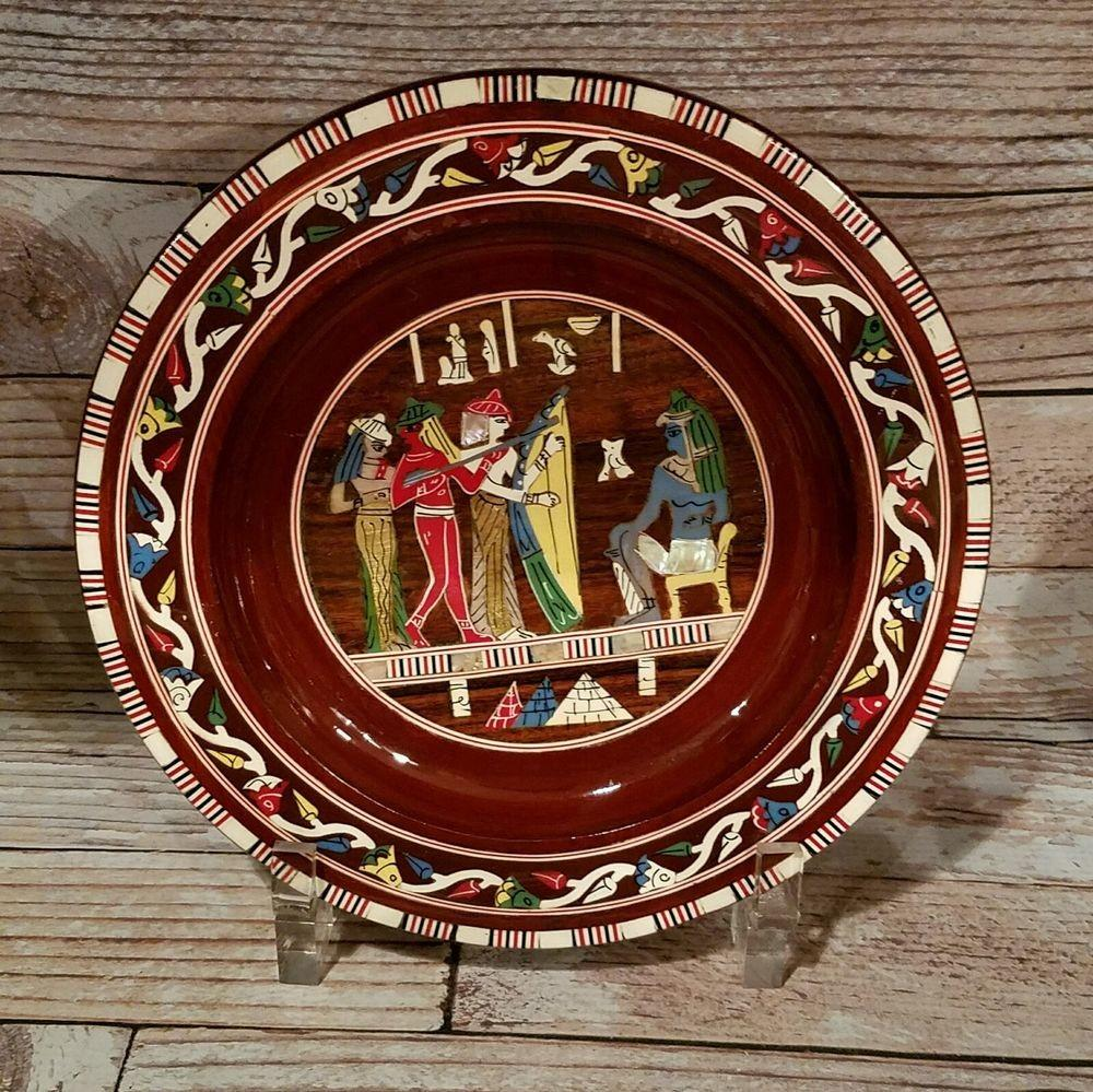 Vintage Wooden Plate Inlaid Mother Pearl Egyptian