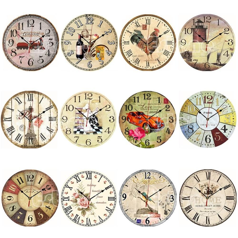 Vintage Wooden Wall Clock Large Shabby Chic Rustic Kitchen