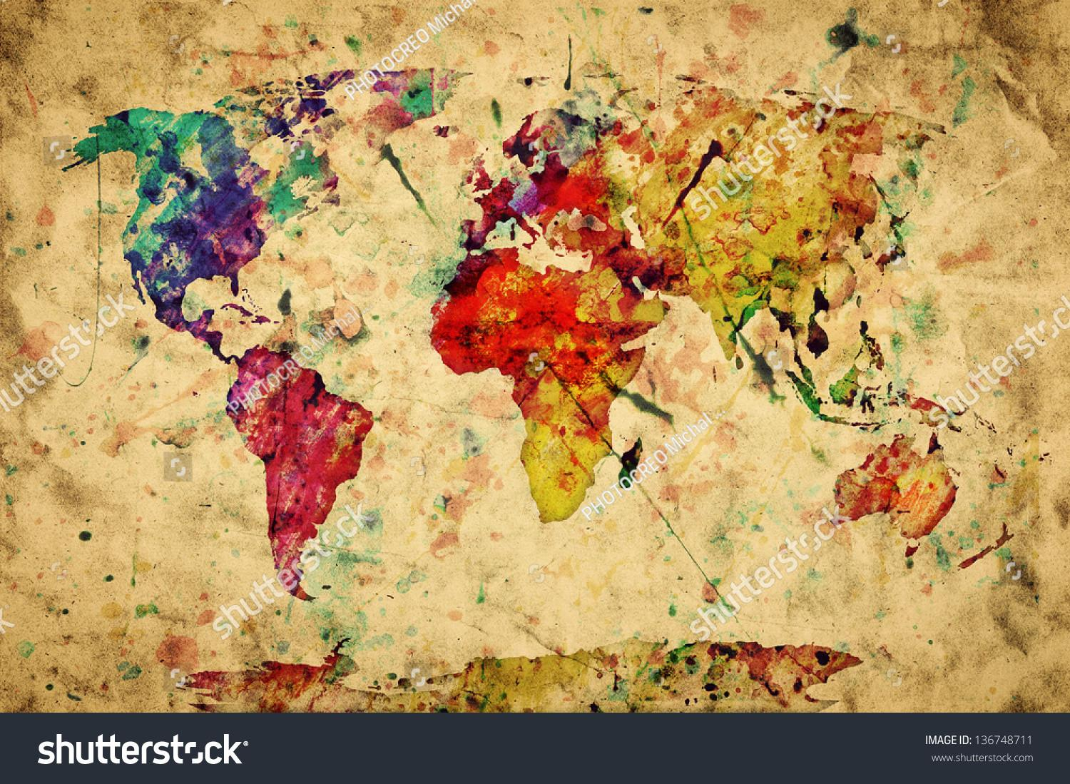 Vintage World Map Colorful Paint Watercolor Retro Style