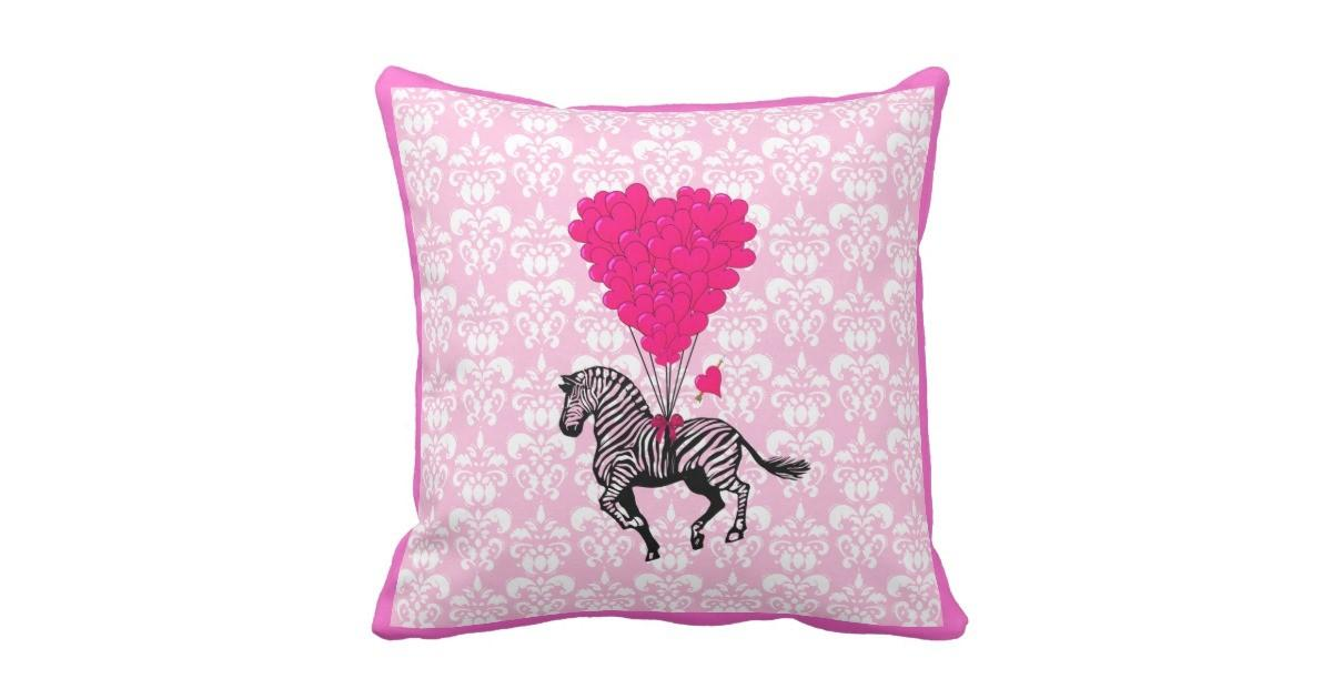 Vintage Zebra Pink Heart Balloons Throw Pillow Zazzle