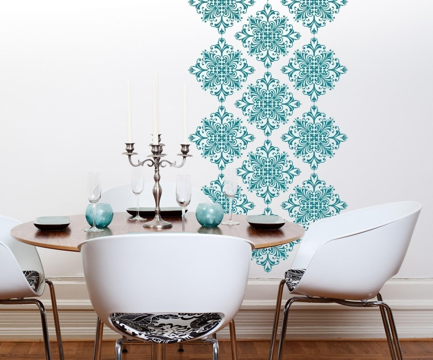 Vinyl Wall Decals Scroll Damask Pattern Graphics