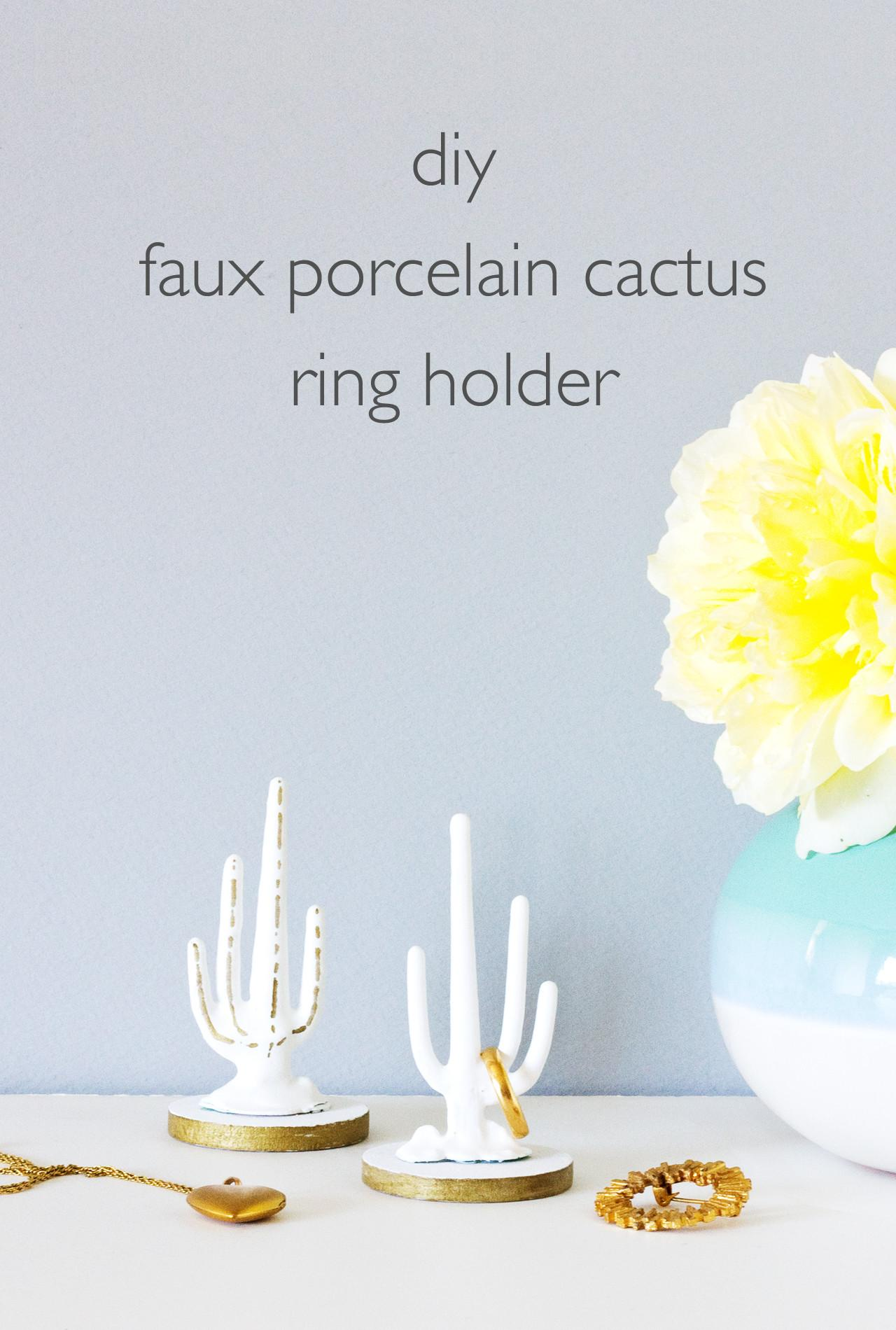 Vitamini Handmade Diy Faux Porcelain Cactus Ring Holder
