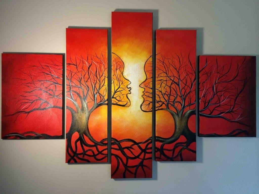 Wall Art Designs Abstract Red Oil