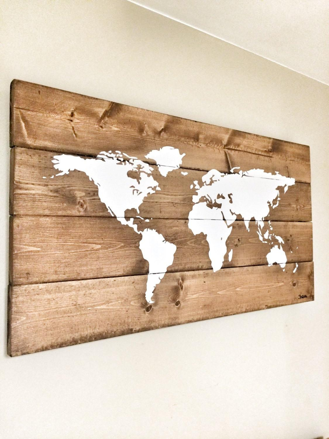 Wall Art Designs Wooden World Map