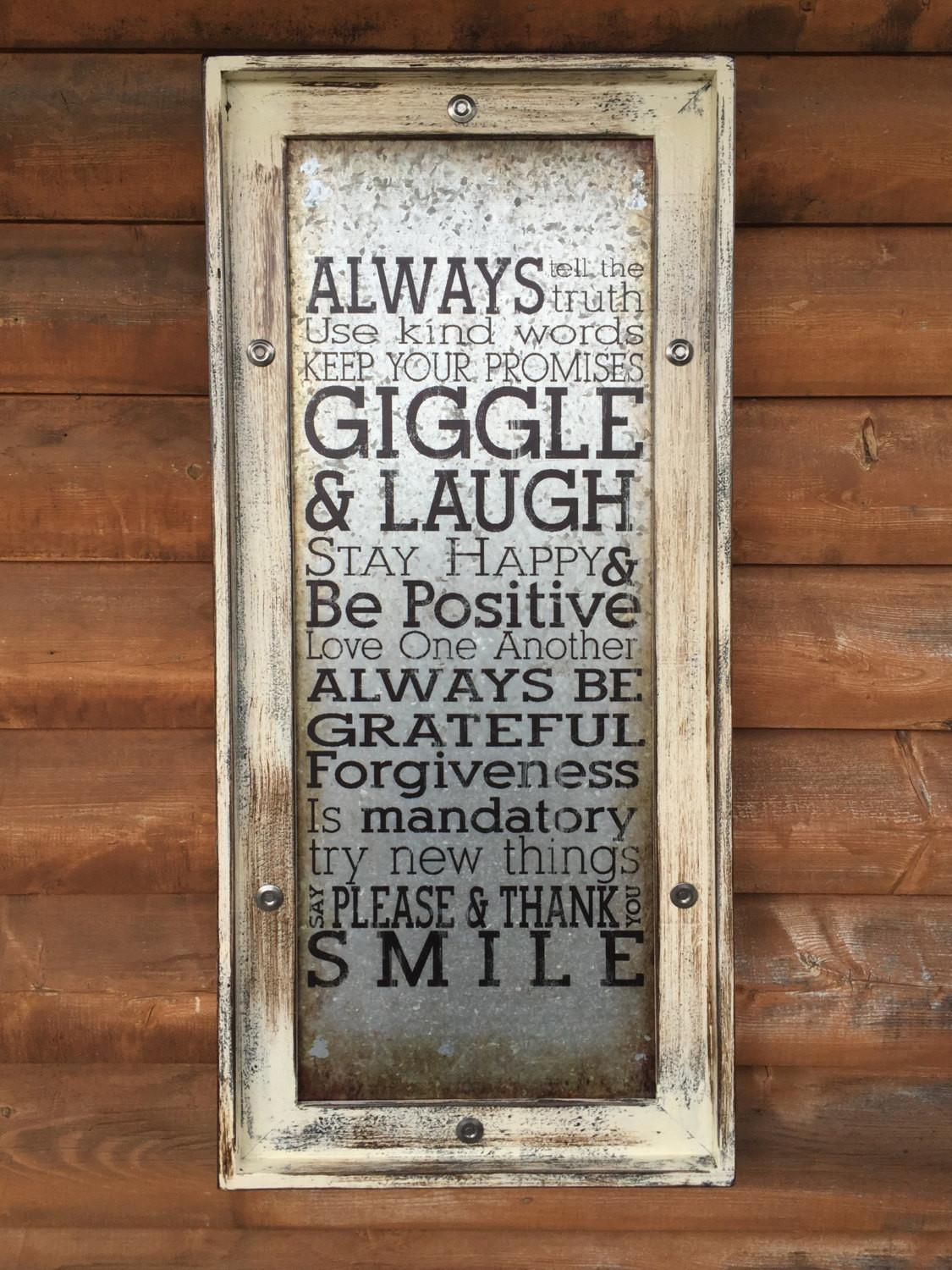 Wall Art Giggle Laugh Cream Framed Industrial Metal Home
