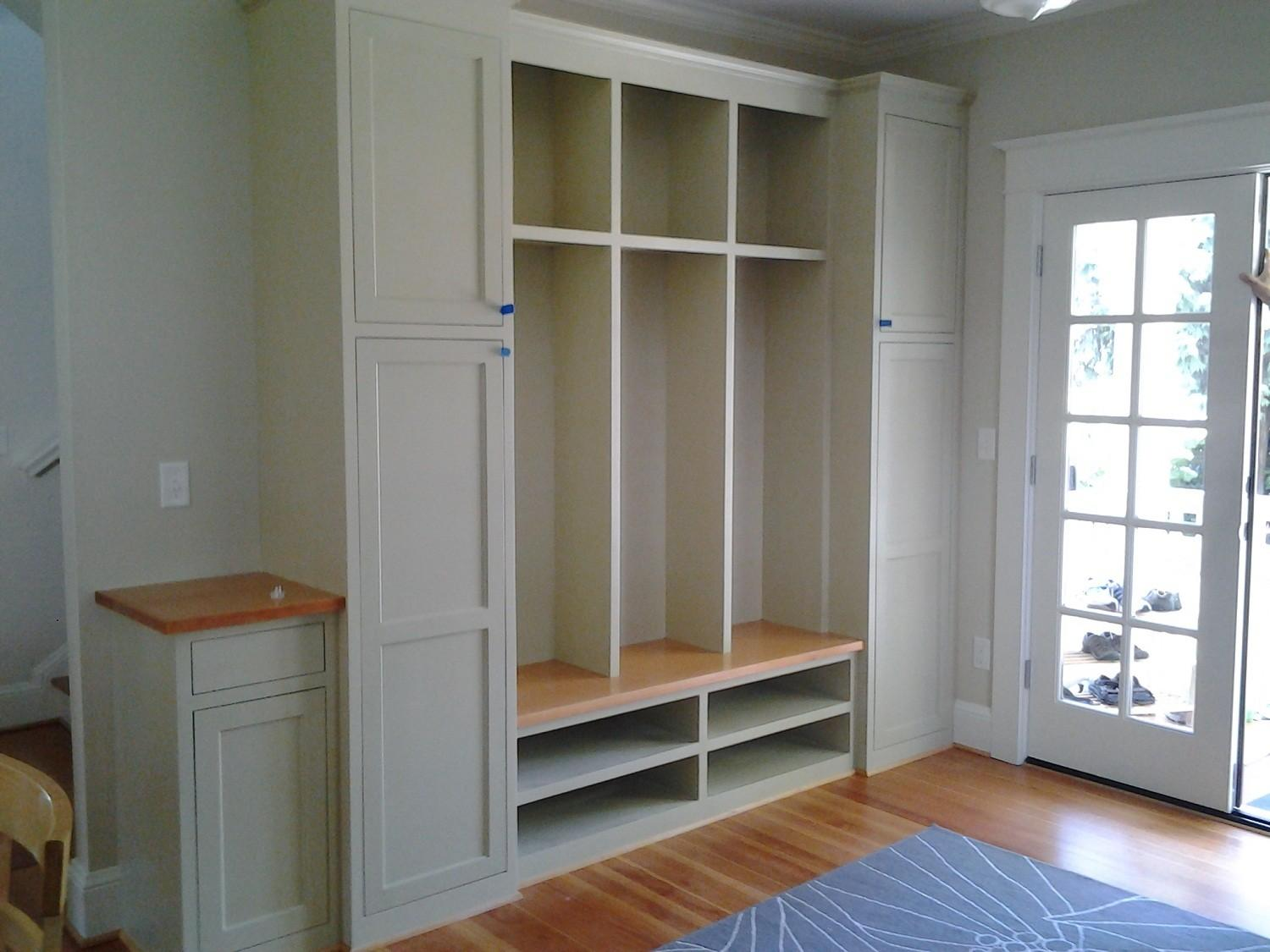 Wall Built Custom Mudroom Cubby Design Painted