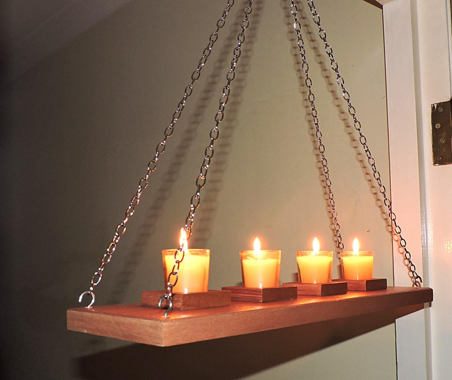 Wall Ceiling Hanging Rustic Candle Holderrustic Moder Wooden