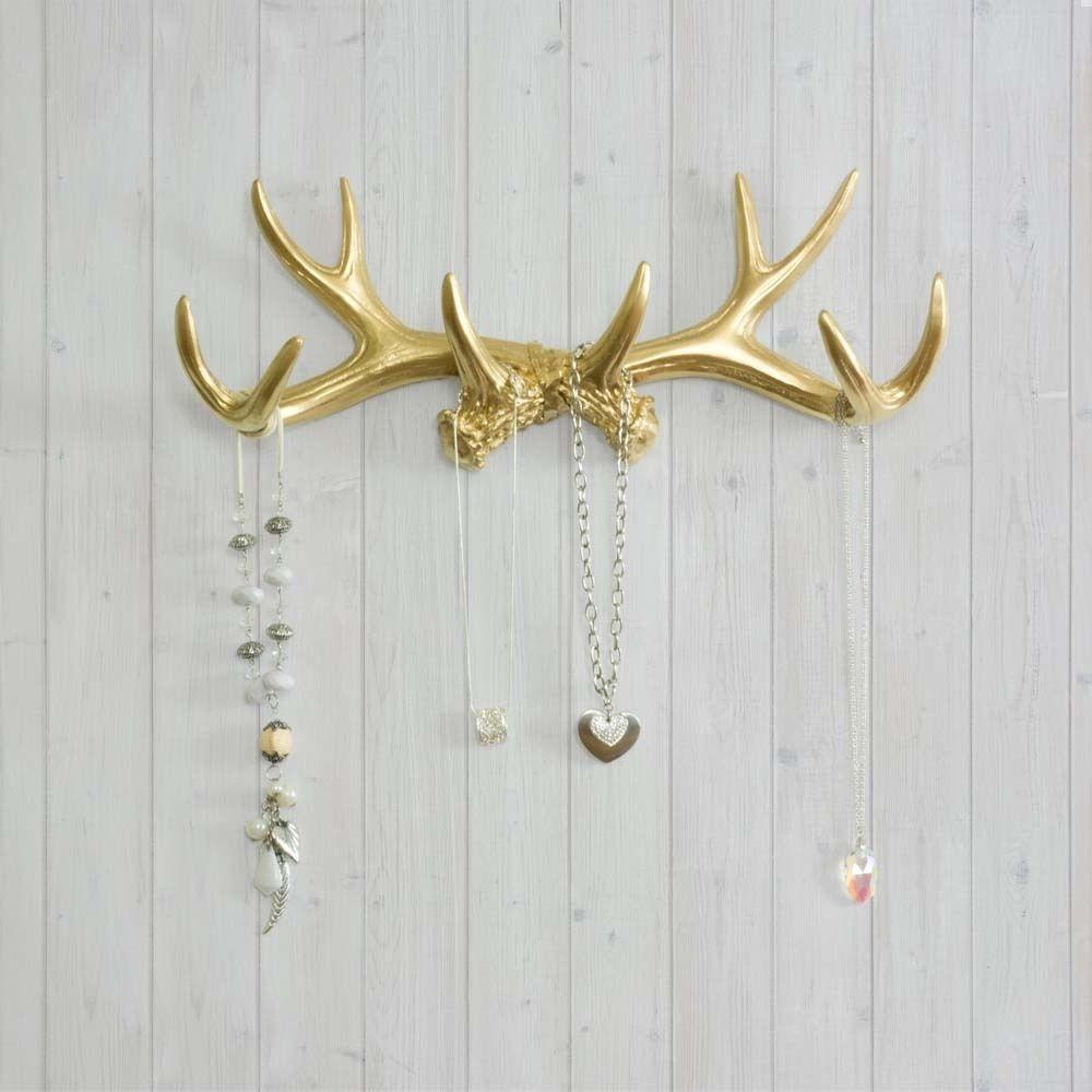 Wall Charmers Antler Hooks Gold Faux Necklace Rack Fake