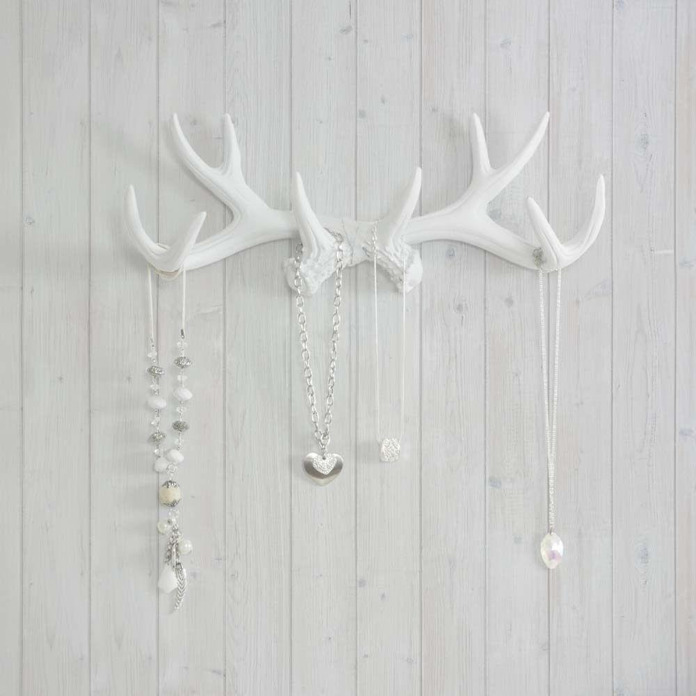 Wall Charmers Antler Hooks White Necklace Rack Fake Deer