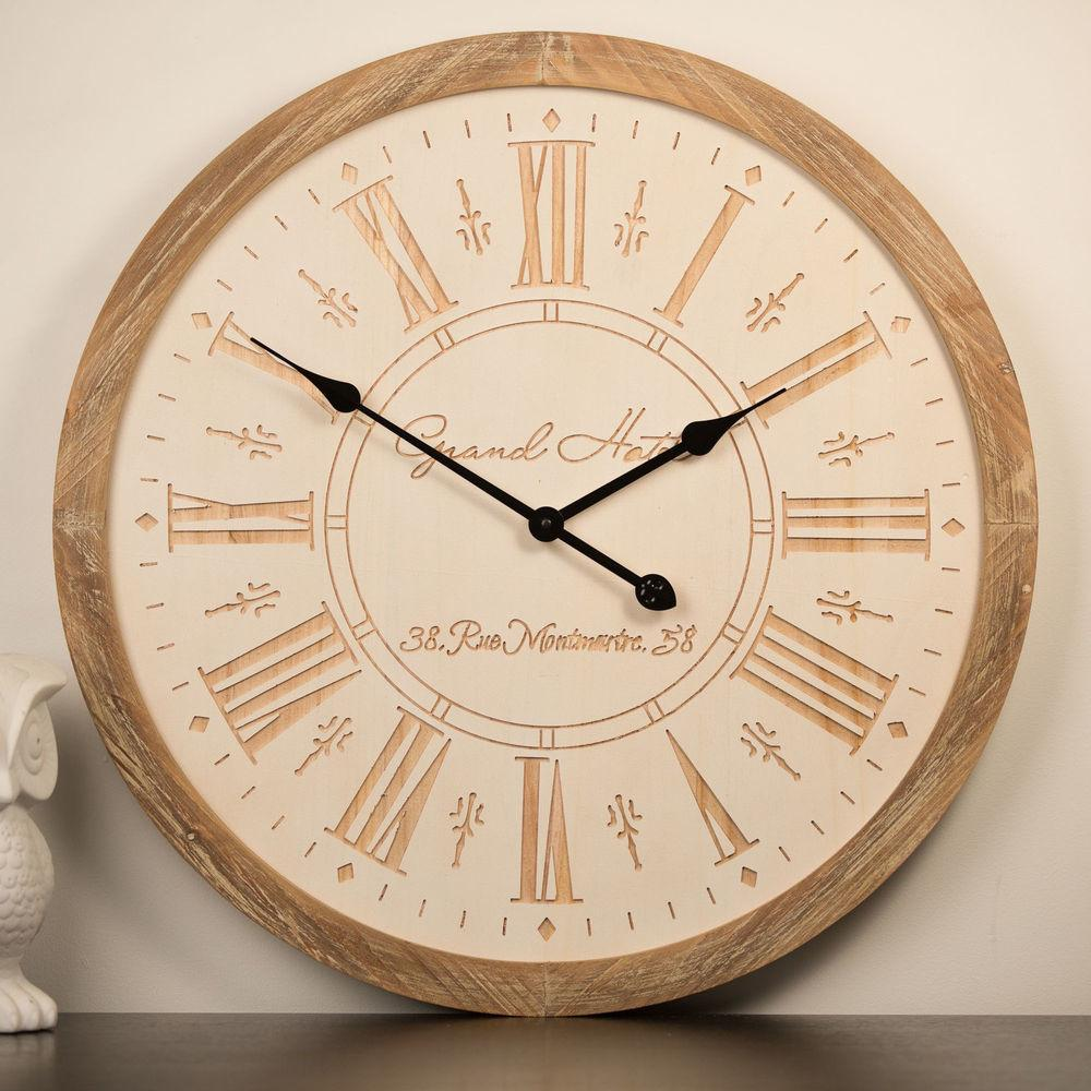 Wall Clock 65cm Grand Hotel Timber Vintage Provincial