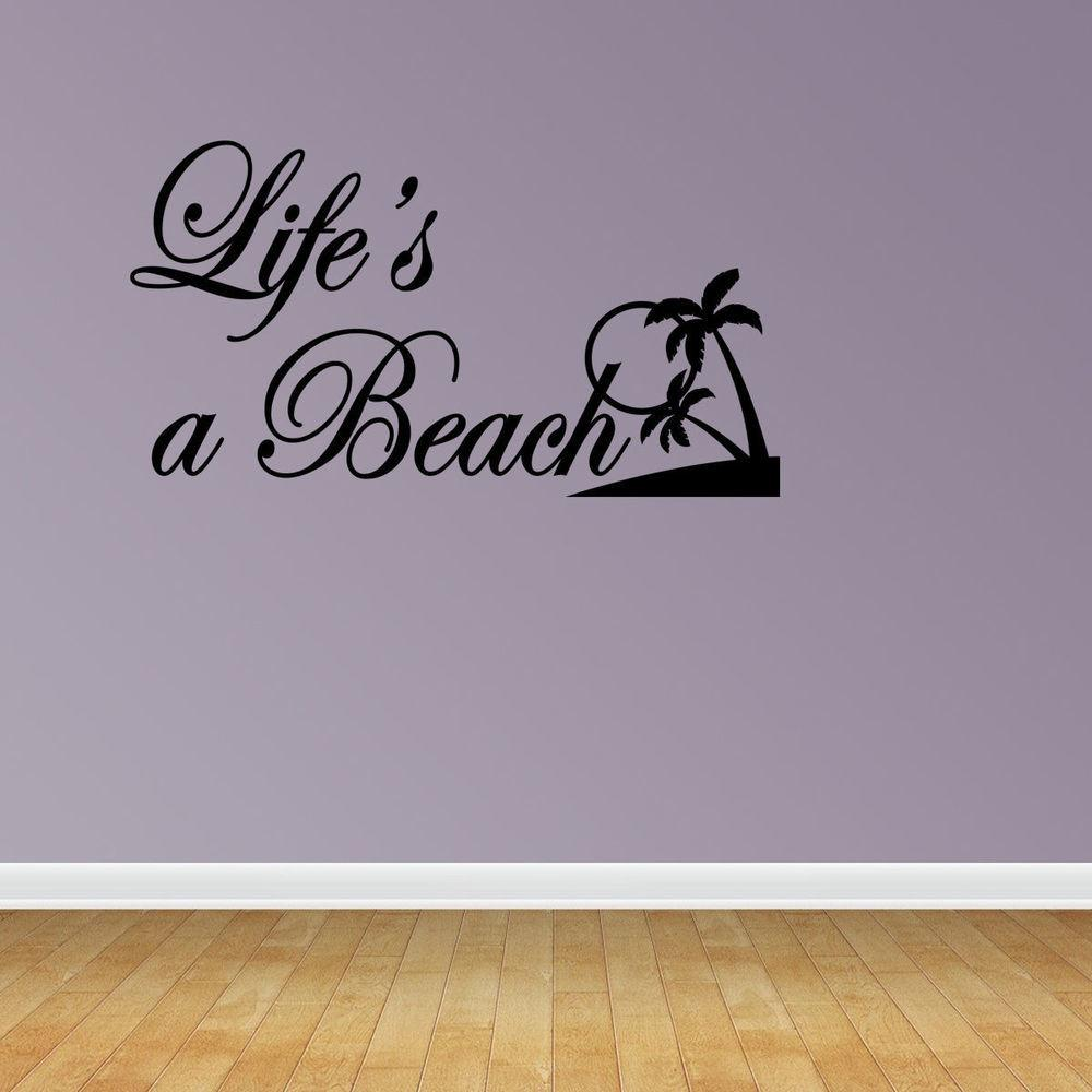 Wall Decal Quote Life Beach Summer Family Sticker