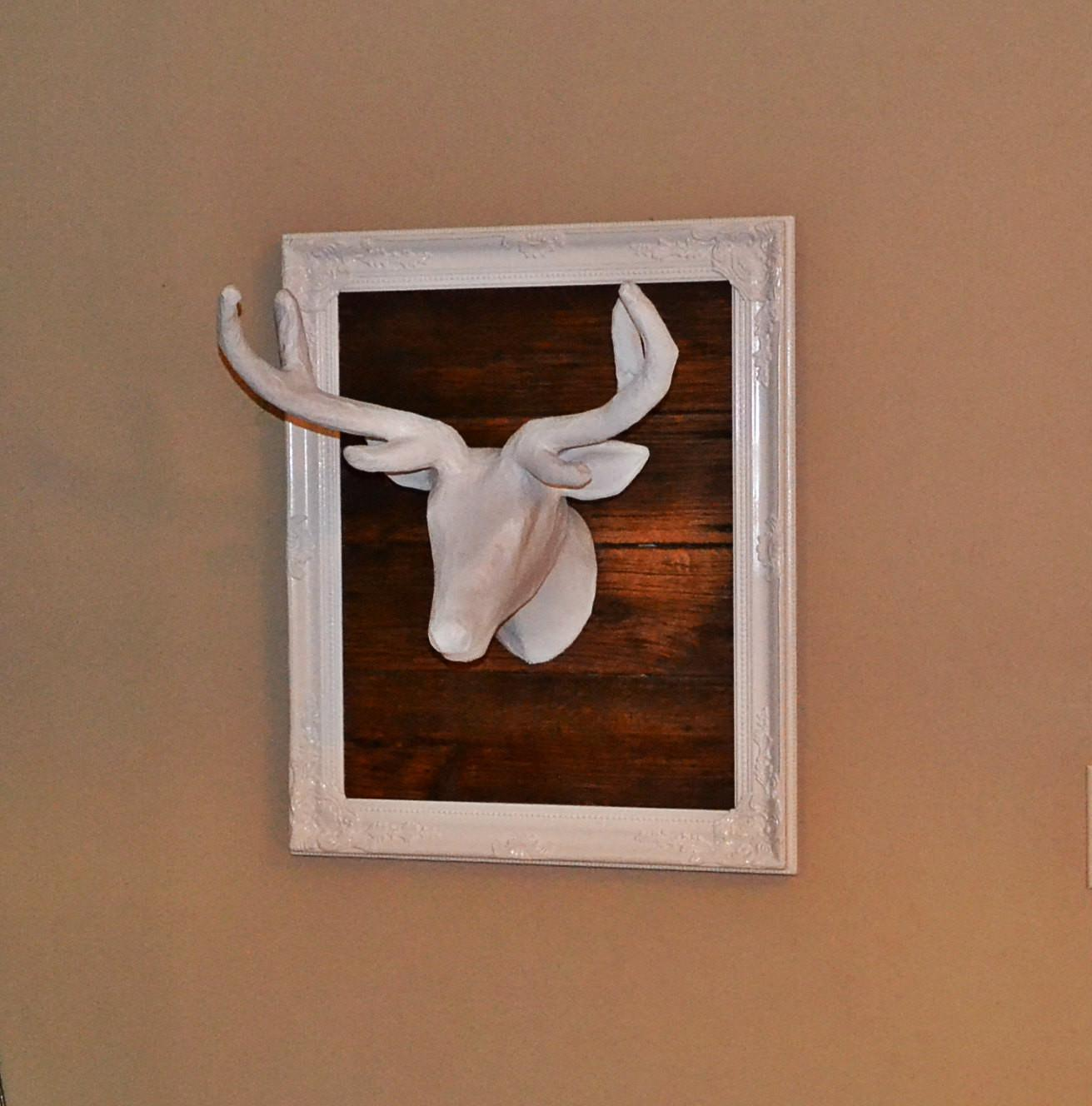 Wall Decor Awesome White Deer Head Ideas