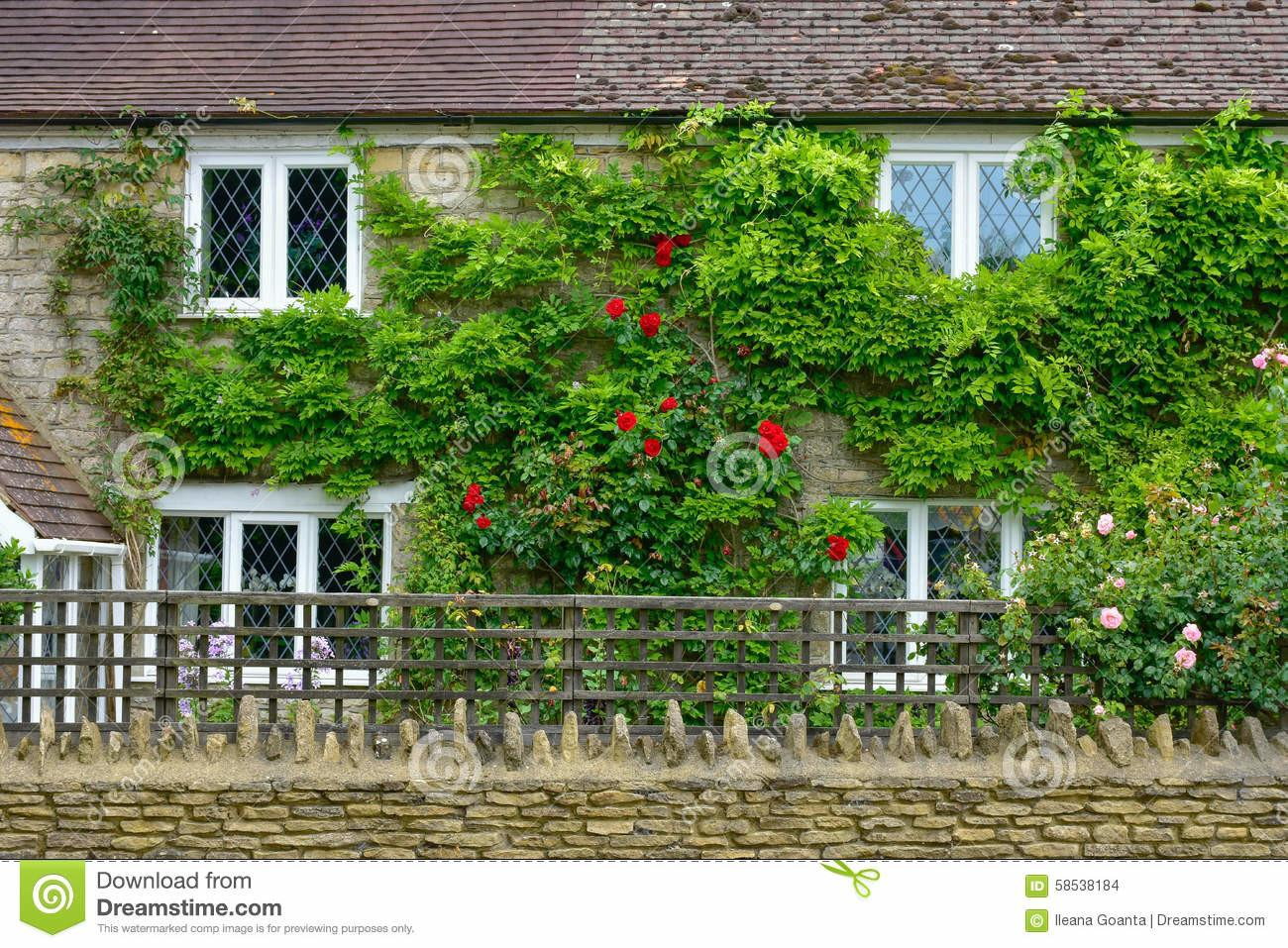 Wall English House Countryside Stock