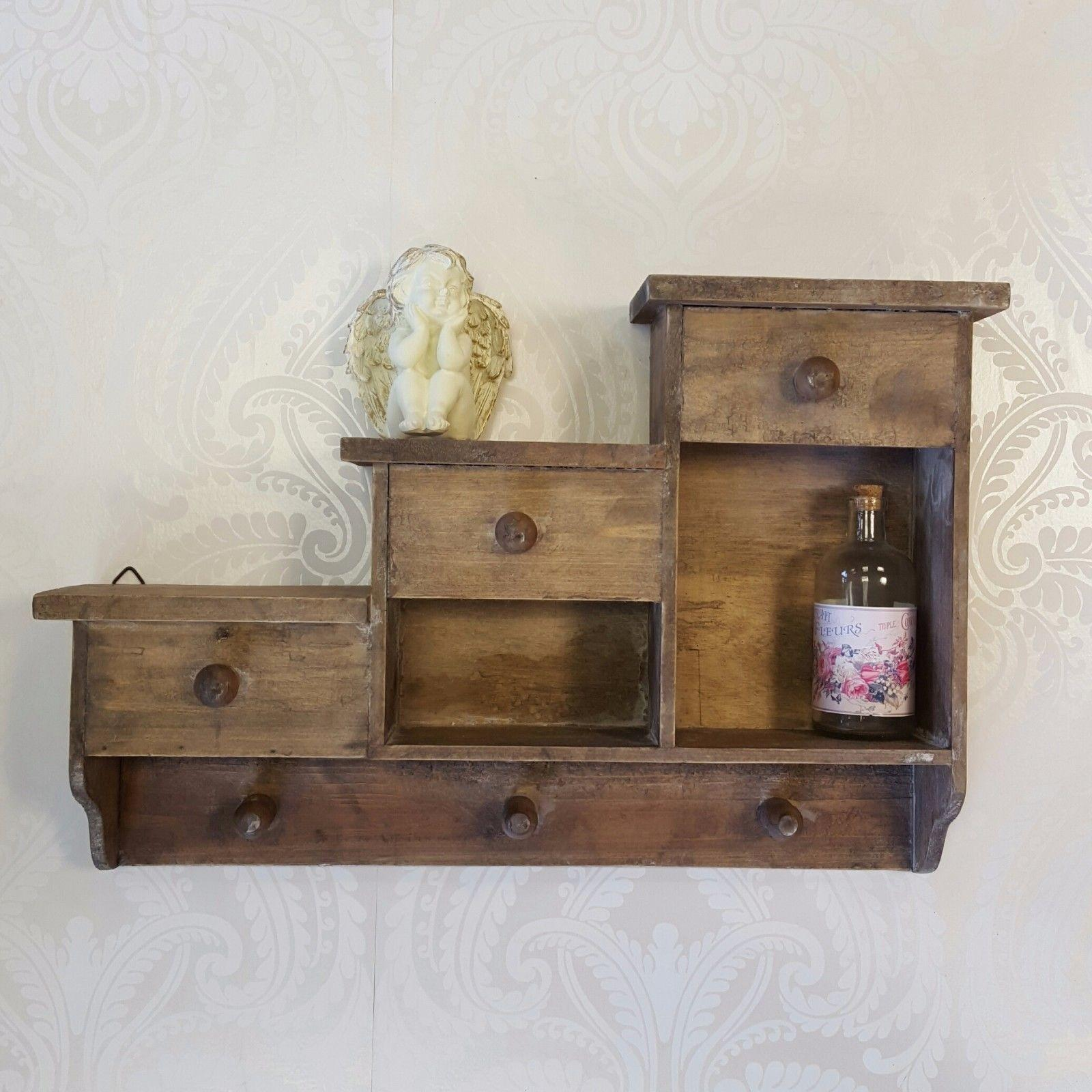 Wall Hanging Shelf Display Cabinet Unit Shabby Chic