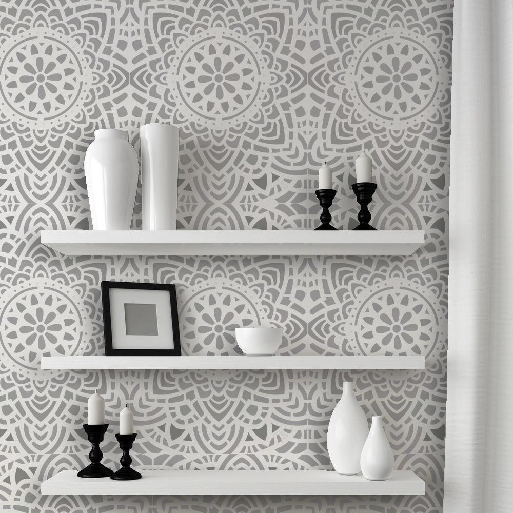 Wall Lace Decorative Stencil Madalyn Allover Reusable
