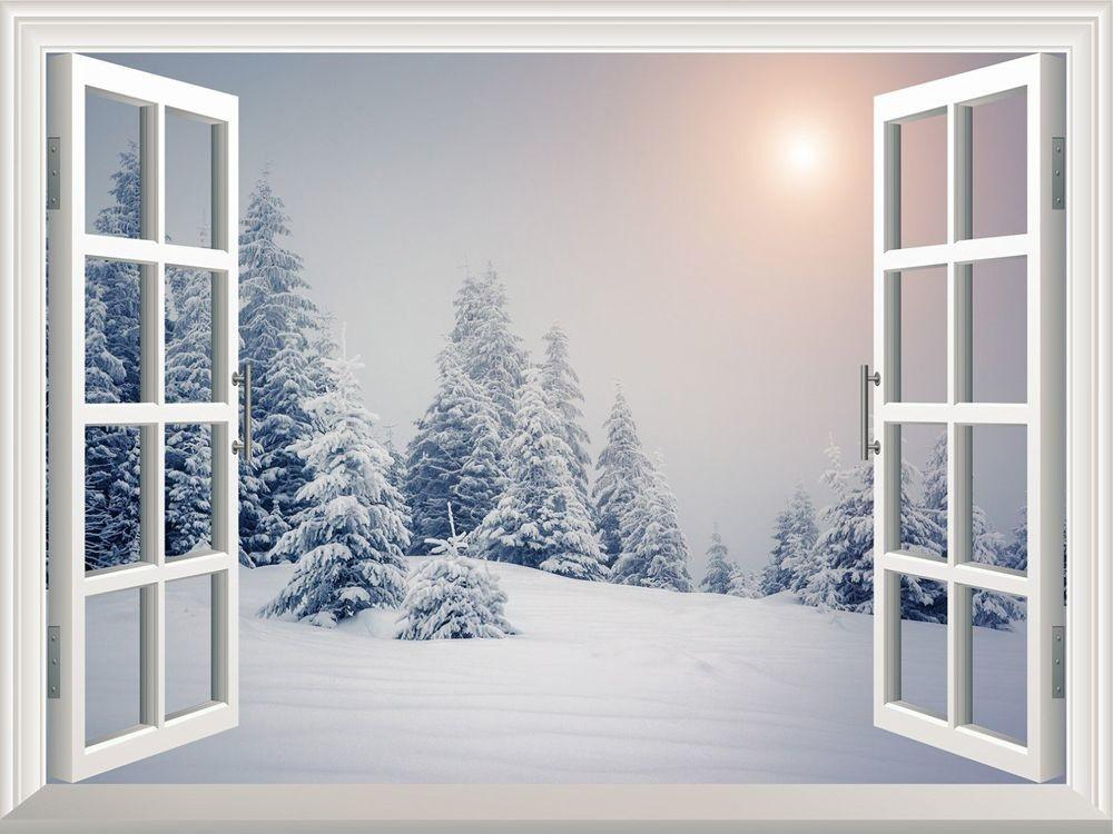 Wall Mural Pine Trees Covered White Snow Out