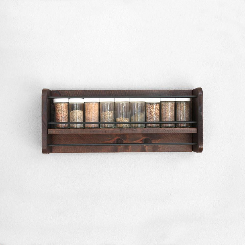 Wall Spice Rack Wood Hanging