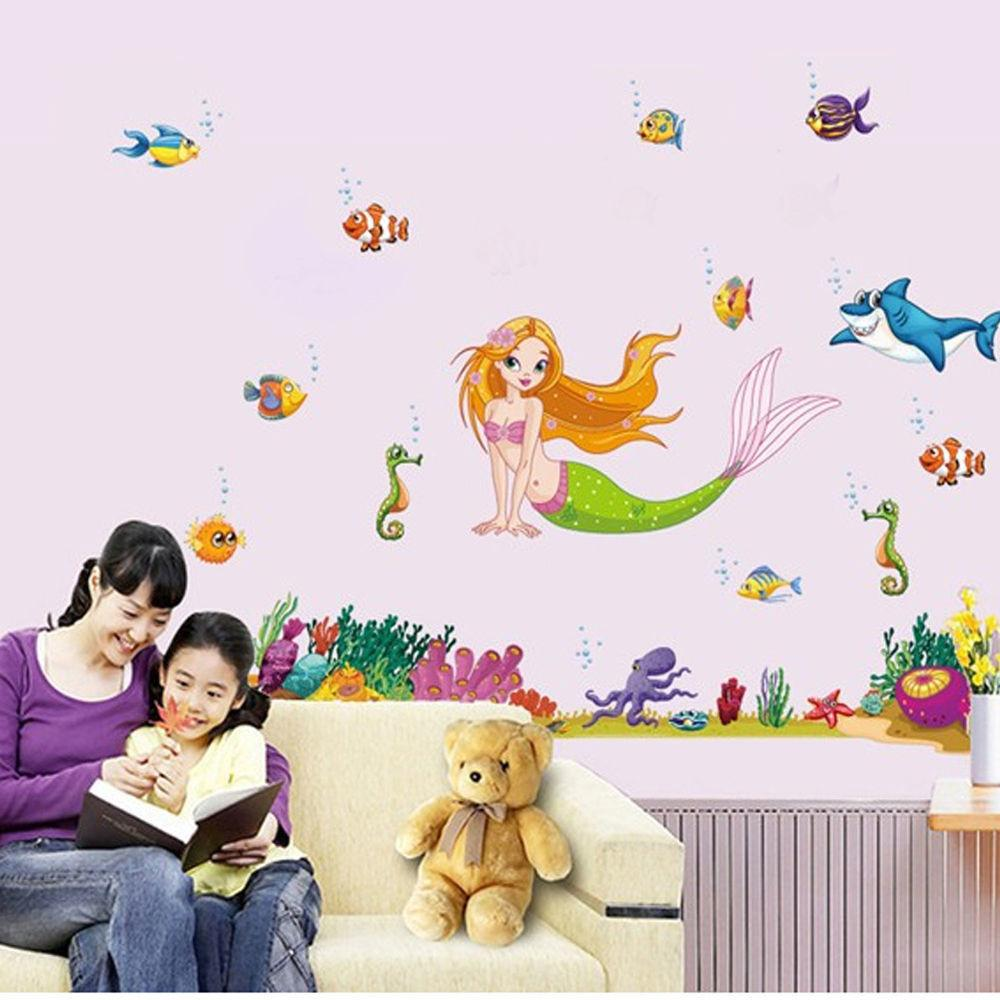 Wall Sticker Little Mermaid Princess Lovely Fishes