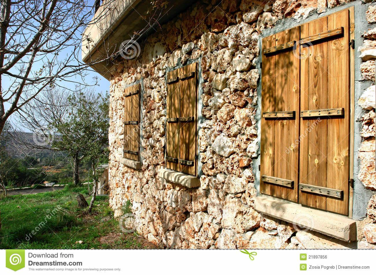 Wall Stone Rural House Stock