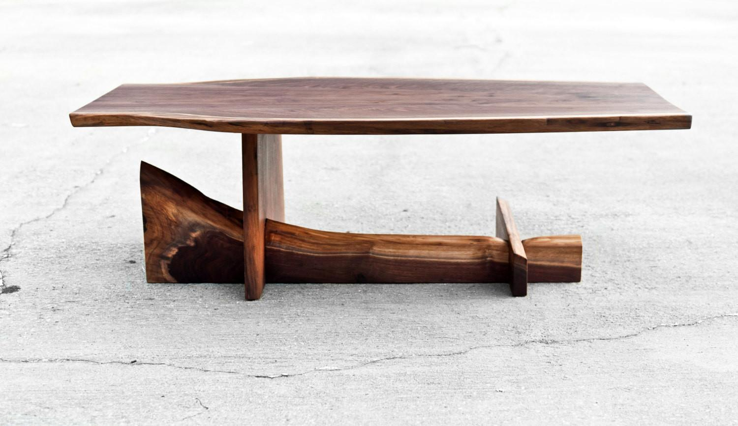 Walnut Cantilever Table Live Edge Coffee Brandmojointeriors
