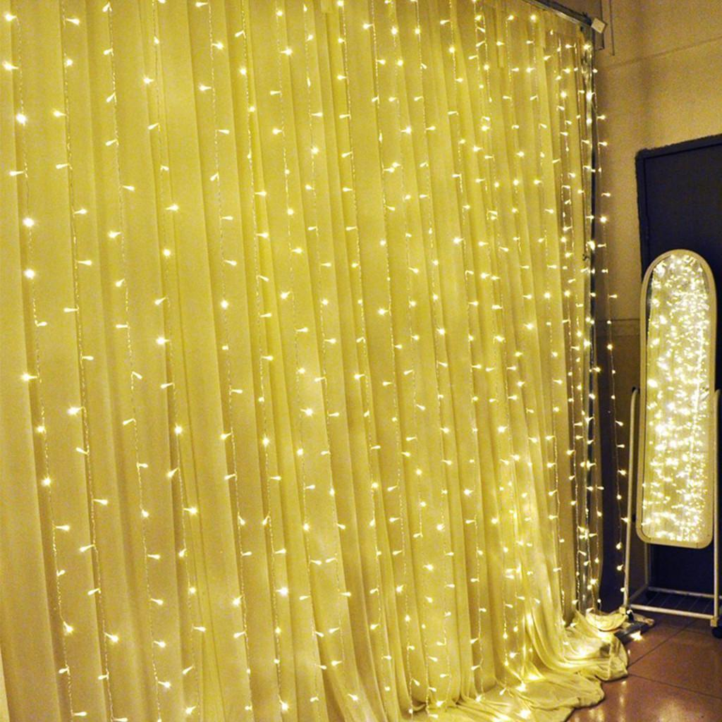 Warm White 300 Led Light Curtain String Fairy Lights