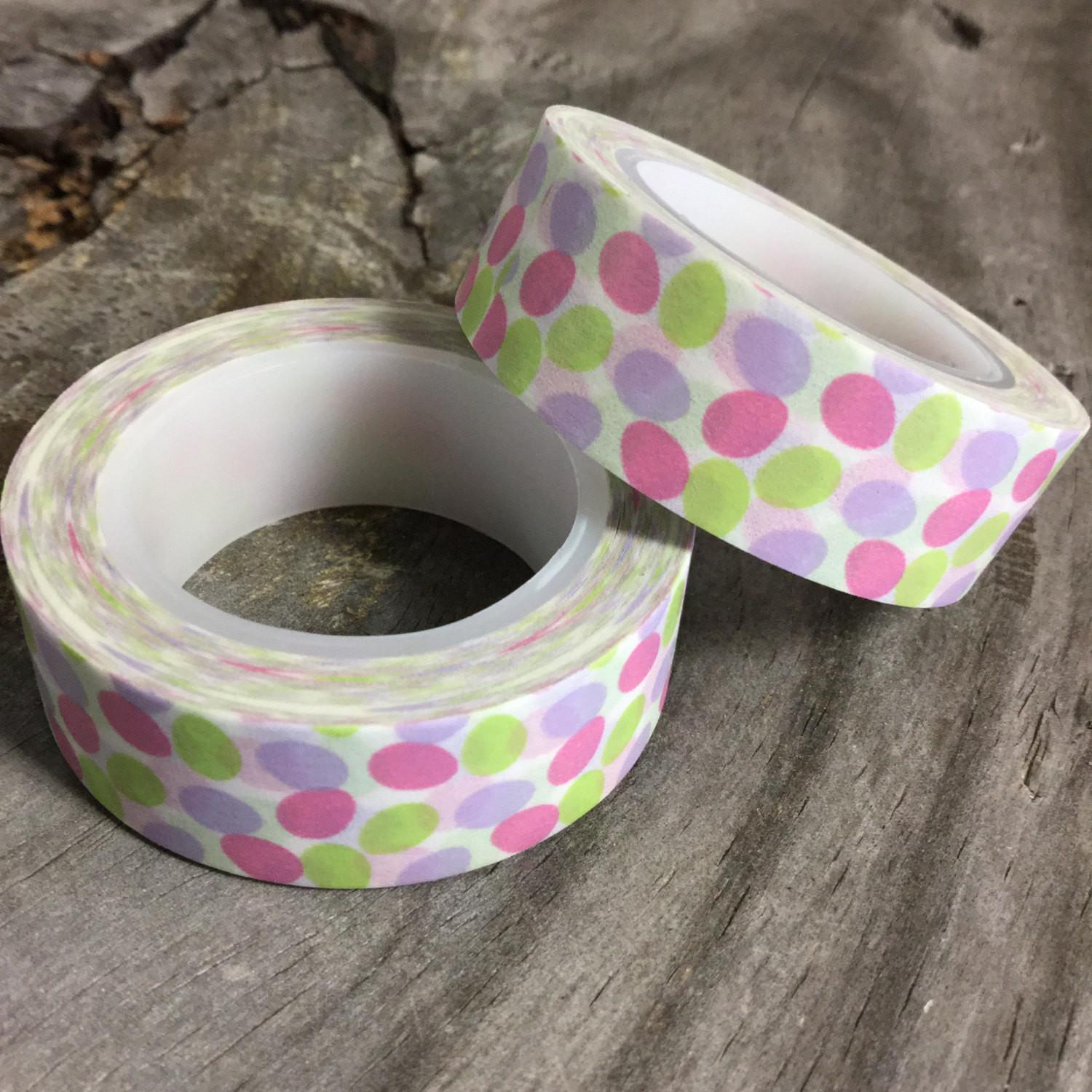 Washi Tape 15mm Pastel Easter Eggs White Deco