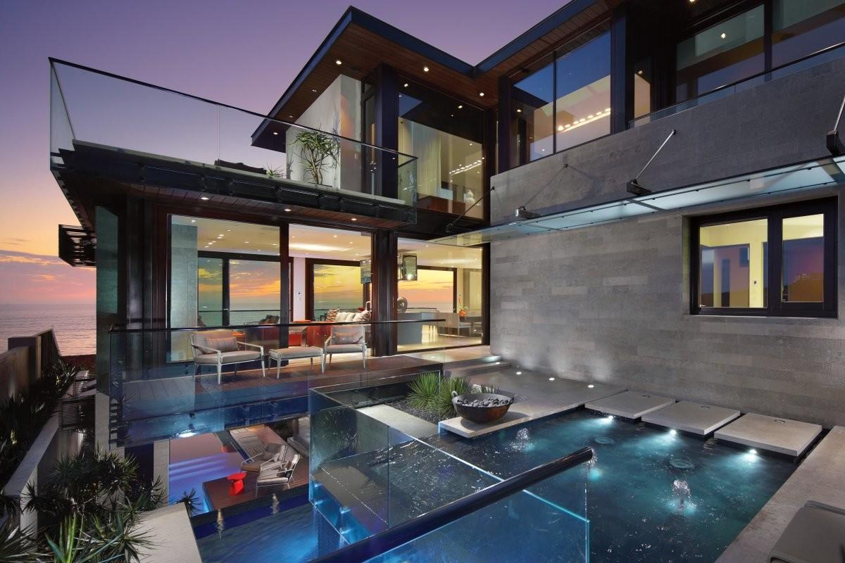 Water Feature Glass Balustrading Contemporary Beach