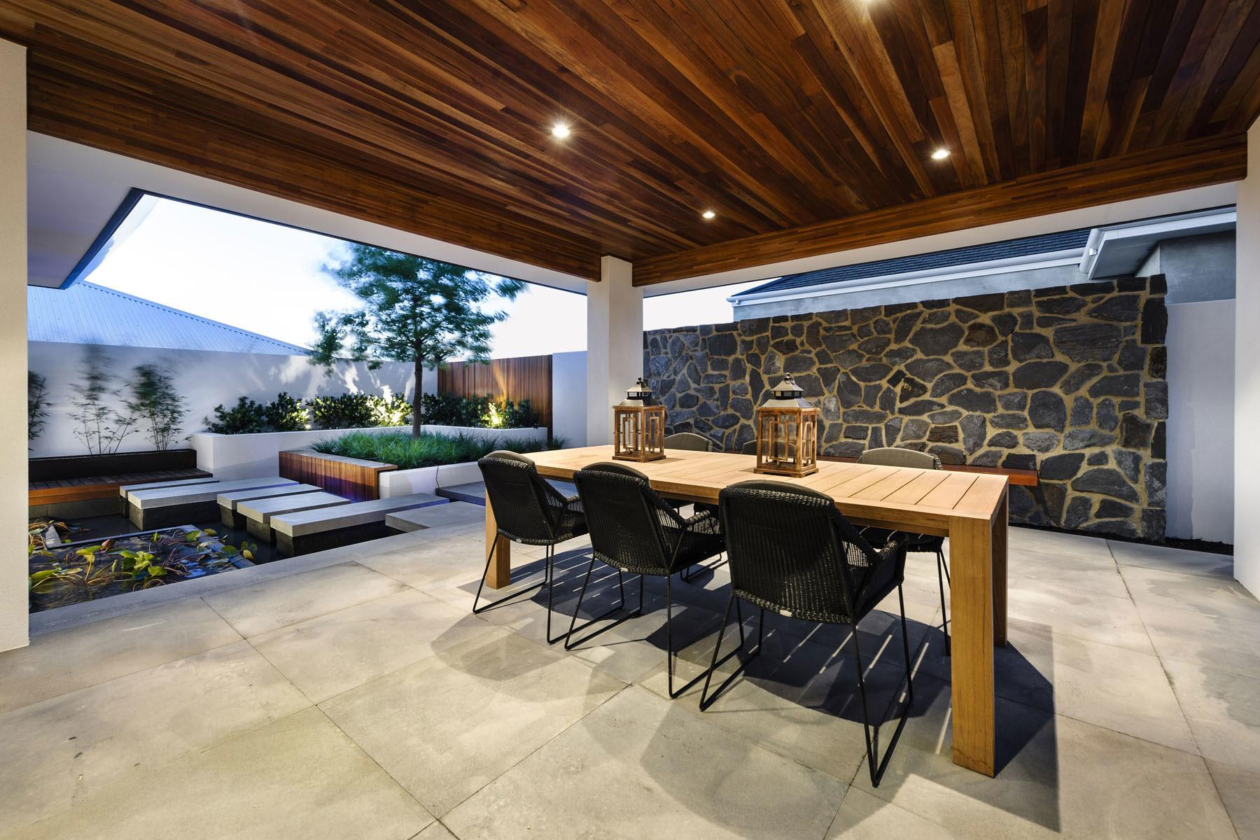 Water Feature Outdoor Dining Table Stone Wall House