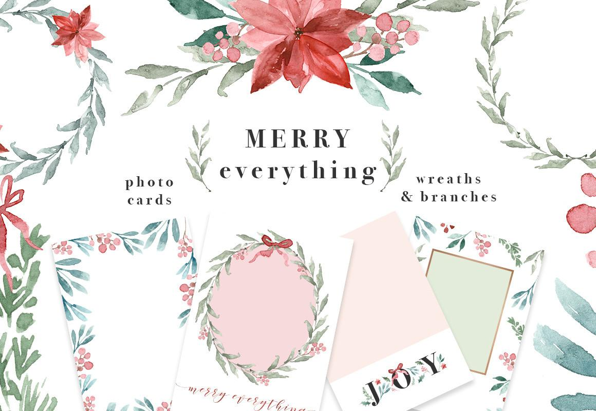 Watercolor Christmas Card Template Wreath