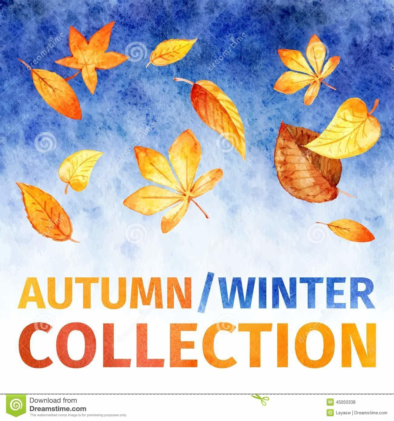 Watercolor Leaves Autumn Winter Collection Stock Vector