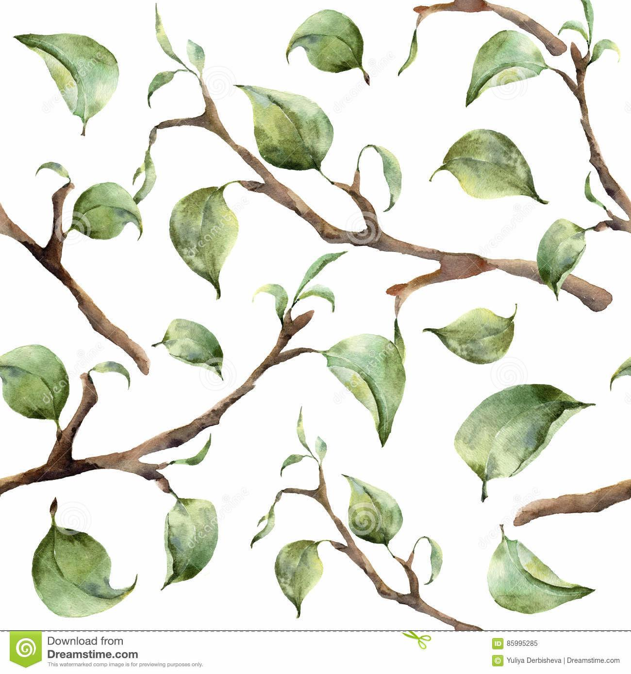 Watercolor Pattern Tree Branches Leaves Hand